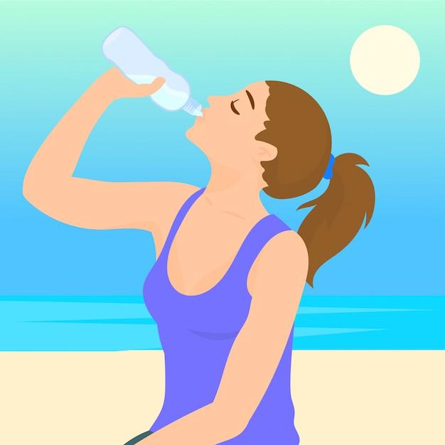 Femme sportive, eau potable en plein air sur une journée ensoleillée Vecteur Premium