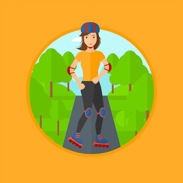Femme sportive sur patins à roulettes. Vecteur Premium