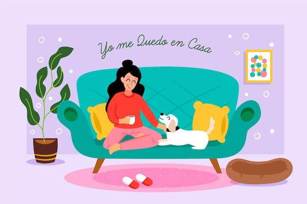Femme De Style Dessiné à La Main Sur Le Canapé Vecteur gratuit