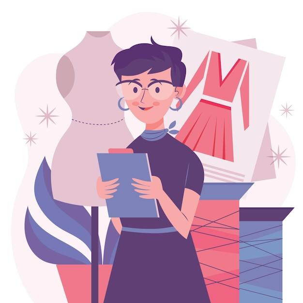 Femme De Styliste Tenant Le Presse-papiers Vecteur gratuit