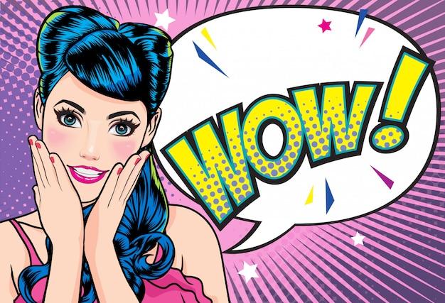 Femme Surprise Garder Wow Vecteur Premium