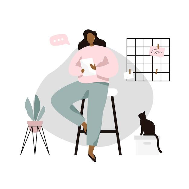 Femme avec tablette dans une chambre confortable. femme lisant des nouvelles ou un livre sur tablette. illustration vectorielle dans un style plat Vecteur Premium