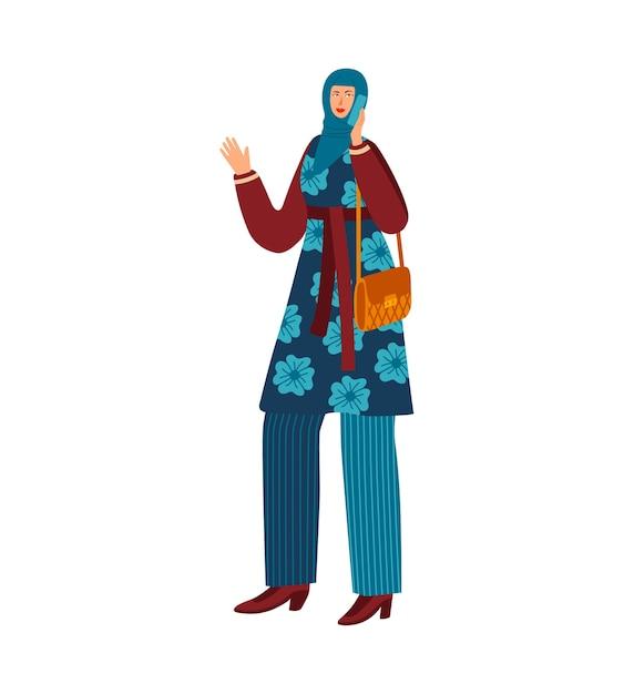 Femme Avec Téléphone Portable, Vêtements De Hijab Traditionnel Vecteur Premium