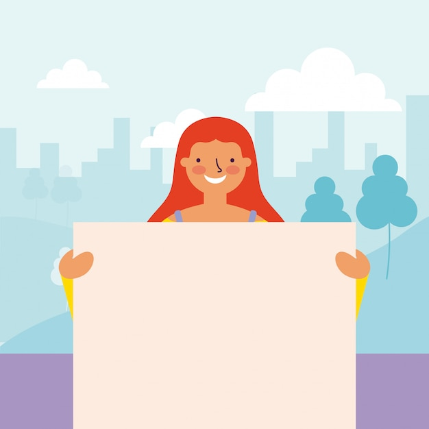 Femme tenant des bannières Vecteur gratuit