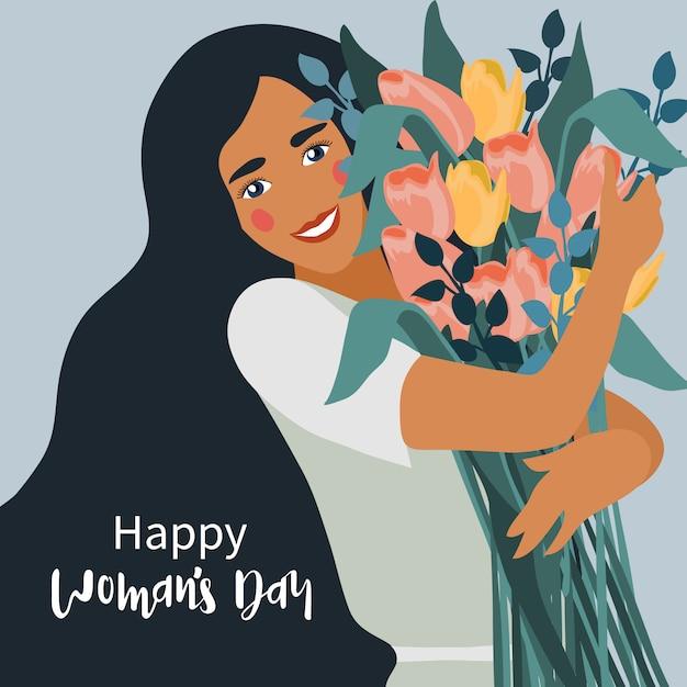 Femme Tenant Un Bouquet De Tulipes Fleurs Vecteur Premium