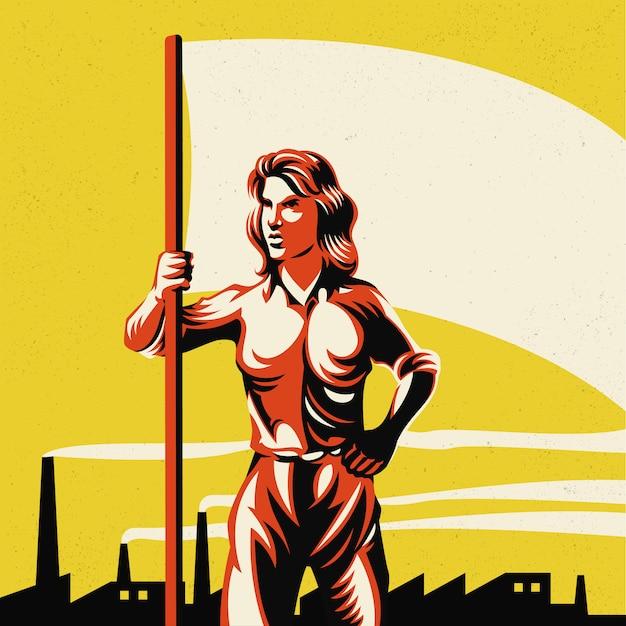 Femme tenant un drapeau avec illustration de fond d'usine Vecteur Premium