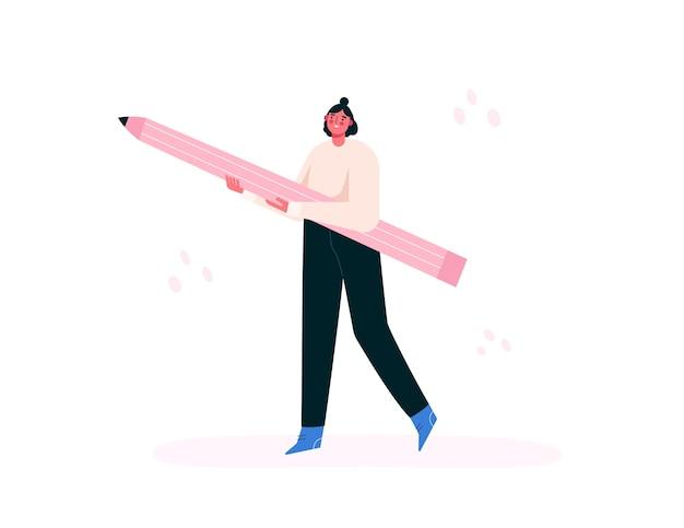 Femme Tenant Un Gros Crayon. Fille Créative. Artiste, Peintre, Designer. Illustration Plate. Vecteur Premium
