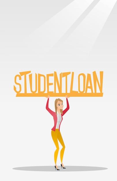 Femme tenant signe de prêt étudiant. Vecteur Premium