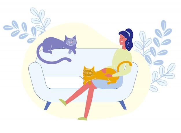Femme, tenue, chat, genoux, illustration vectorielle Vecteur Premium