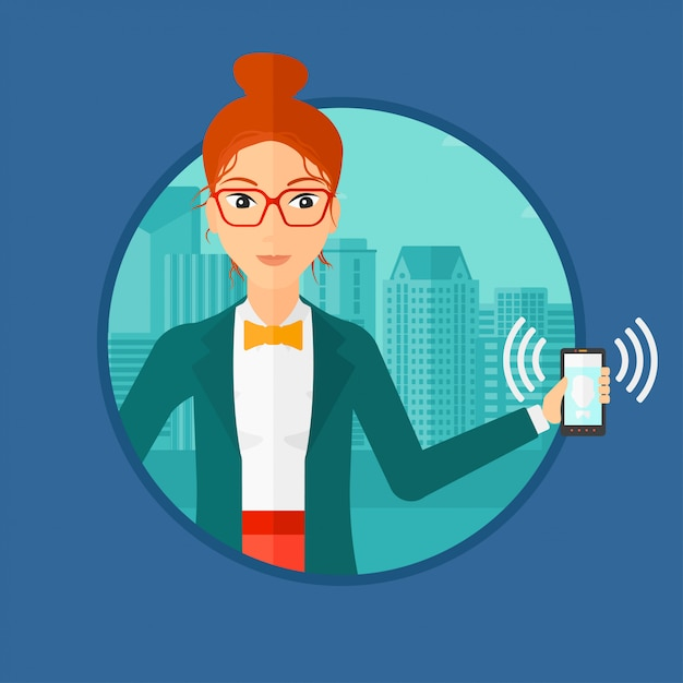 Femme, tenue, sonnerie, téléphone Vecteur Premium