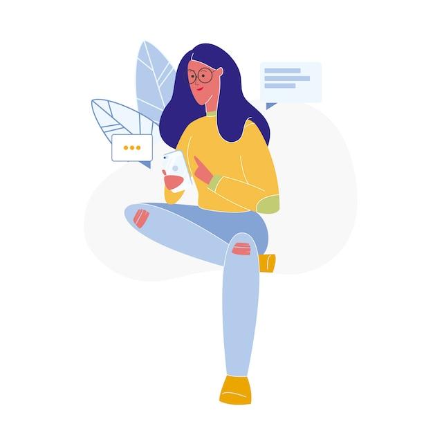 Femme Textos En Ligne Plat Vector Illustration Vecteur Premium
