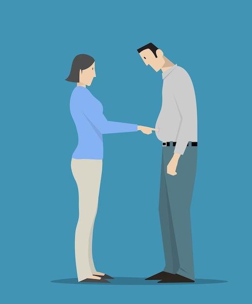 Femme, Toucher, Homme, Gros Ventre Vecteur Premium