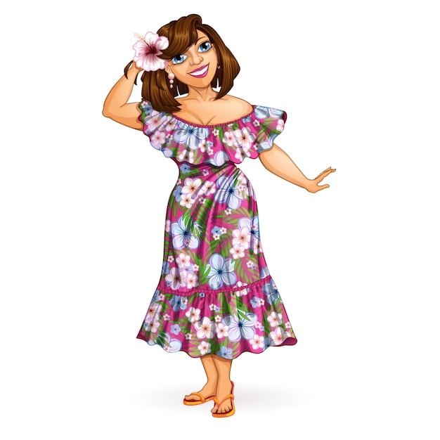 Femme de touriste avec une orchidée en robe hawaïenne. Vecteur Premium