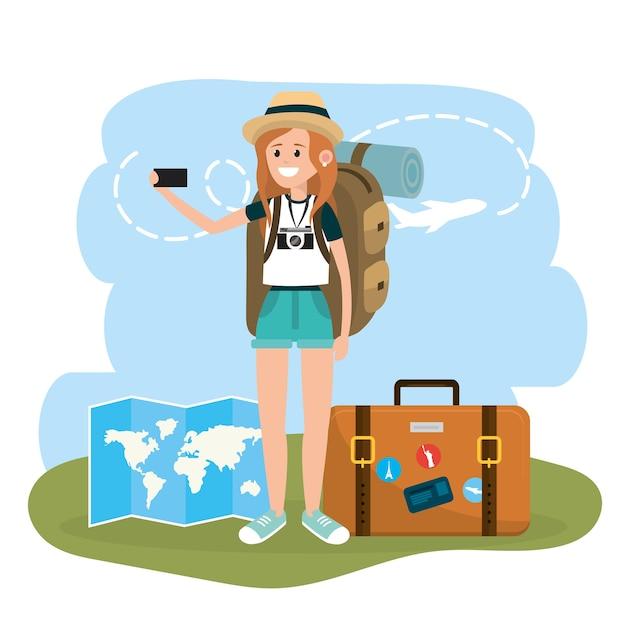 Femme touriste avec smartphone et porte-documents Vecteur Premium