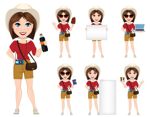 Femme touriste, voyageur Vecteur Premium