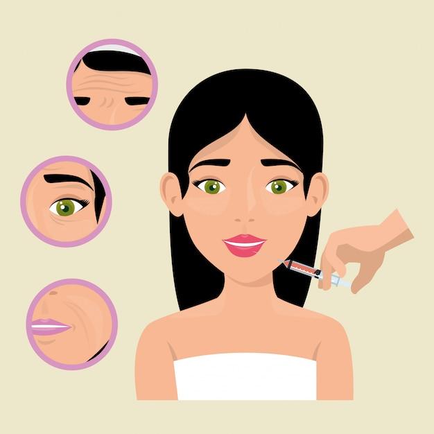 Femme avec traitement botox Vecteur gratuit