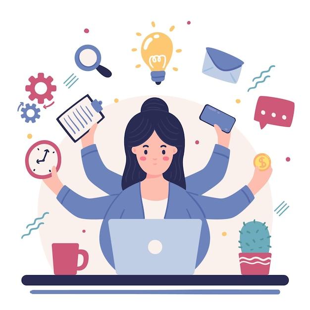 Femme Travaillant Des Activités Multitâches Vecteur gratuit