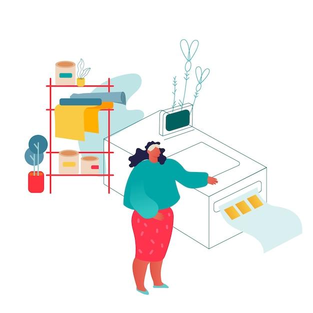 Femme Travaillant Dans Une Imprimerie Ou Une Agence De Publicité Debout Près De L'équipement De Polygraphie. Vecteur Premium