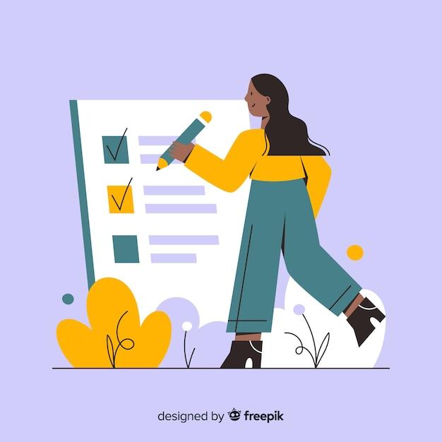 Femme travaillant sur le fond de la liste de contrôle Vecteur gratuit