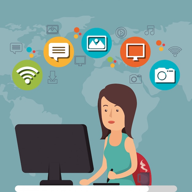 Femme travaillant avec l'icône de médias sociaux Vecteur gratuit