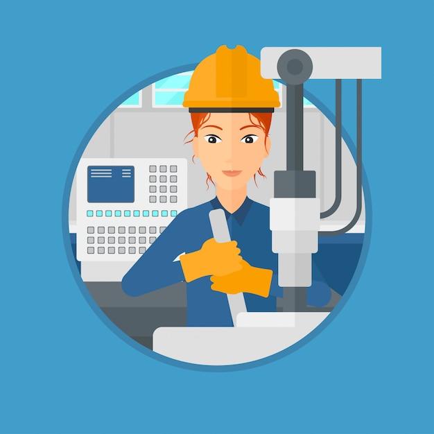 Femme travaillant sur une perceuse industrielle. Vecteur Premium
