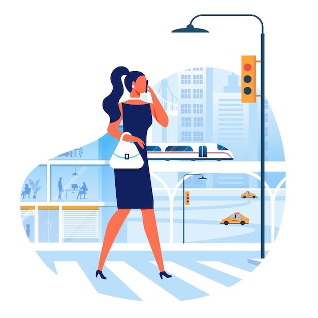 Femme traversant la rue plate illustration vectorielle Vecteur Premium
