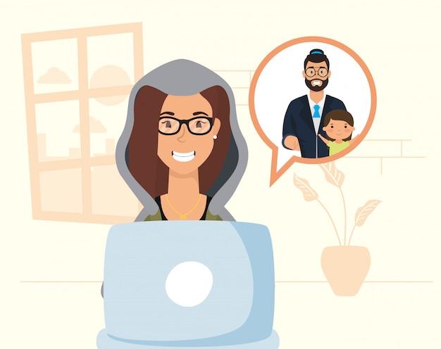 Femme Utilisant Un Ordinateur Portable Pour Communiquer Et Rester à La Maison Vecteur Premium