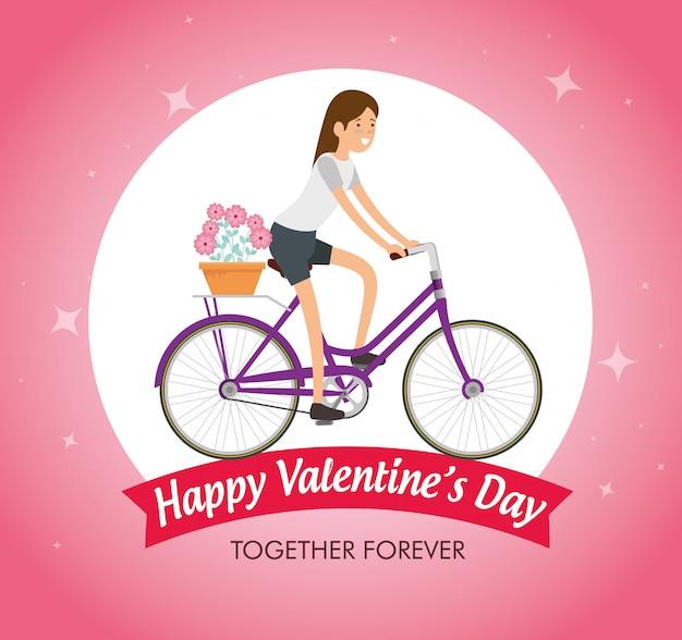 Femme, vélo, célébrer, saint valentin Vecteur gratuit