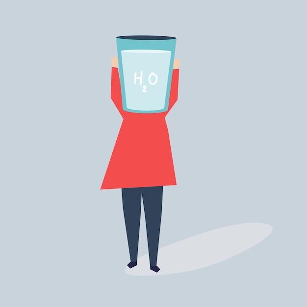 Femme, verre eau, tête, illustration Vecteur gratuit