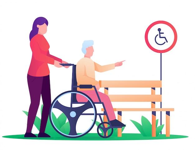 Femme Et Vieil Homme Utilisent Whell Chaise Illustration Vecteur Premium