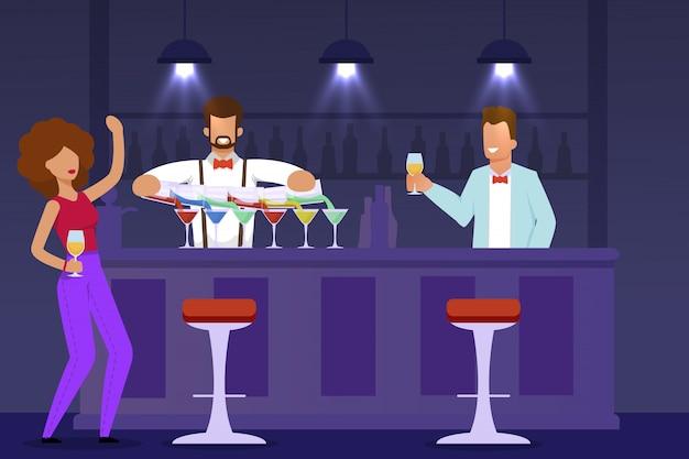 Femme visiteur, barman et serveur au comptoir Vecteur Premium