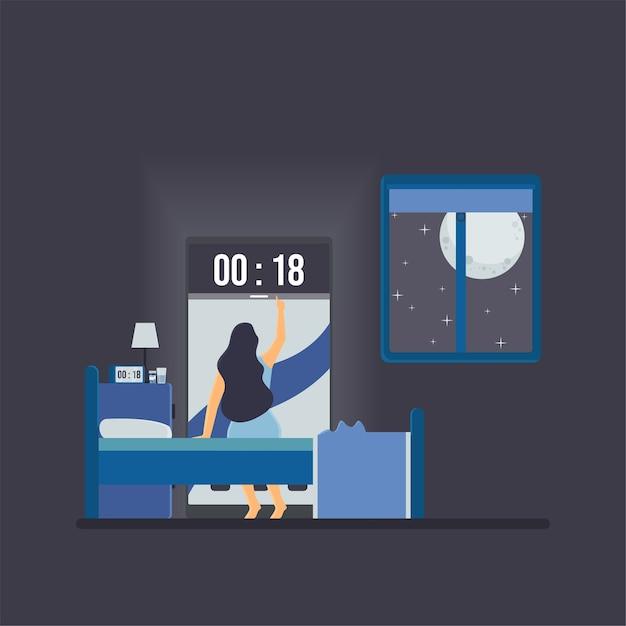 La Femme Voit L'horloge Au Téléphone Dans La Métaphore De Minuit De L'insomnie. Vecteur Premium