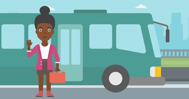 Femme voyageant en illustration vectorielle bus. Vecteur Premium
