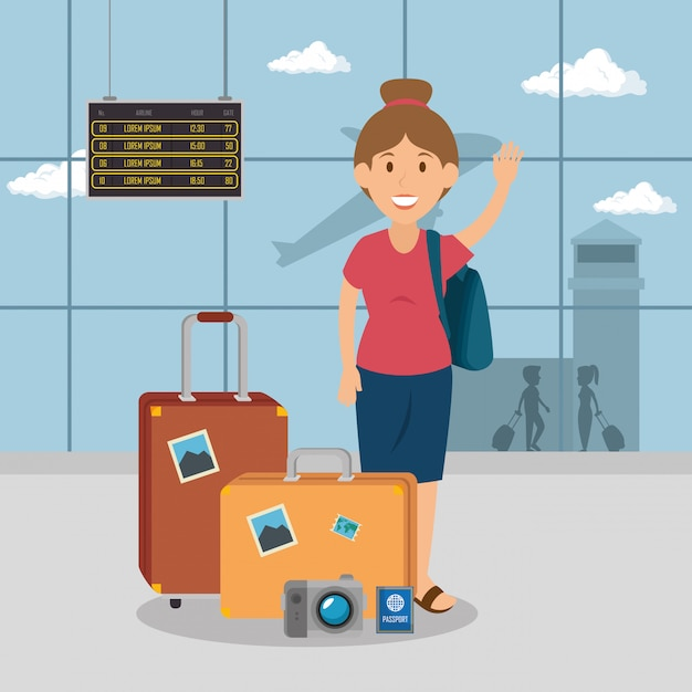 Femme voyageur à l'aéroport Vecteur gratuit