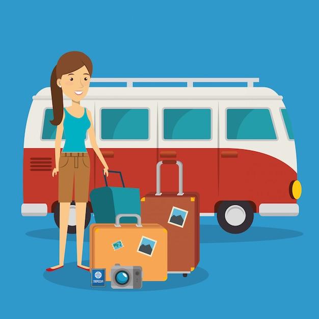 Femme voyageur avec valises personnages Vecteur gratuit