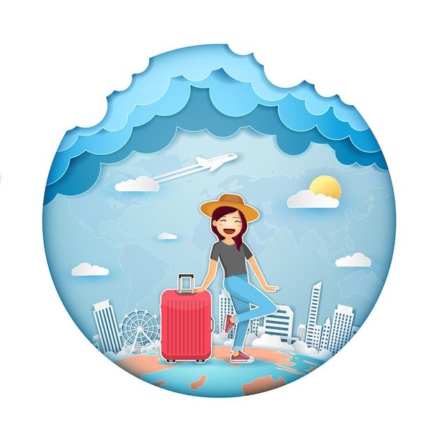 Femme voyageur Vecteur Premium