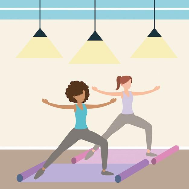 Femme et yoga Vecteur Premium