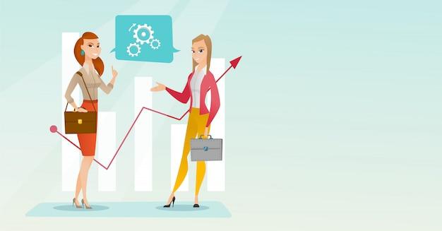 Femmes d'affaires analysant des données financières. Vecteur Premium