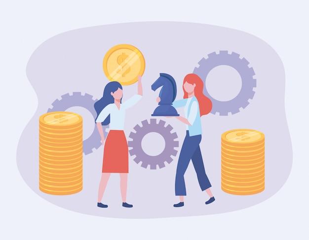 Femmes d'affaires avec des pièces de monnaie et des échecs de cheval avec des engrenages Vecteur gratuit