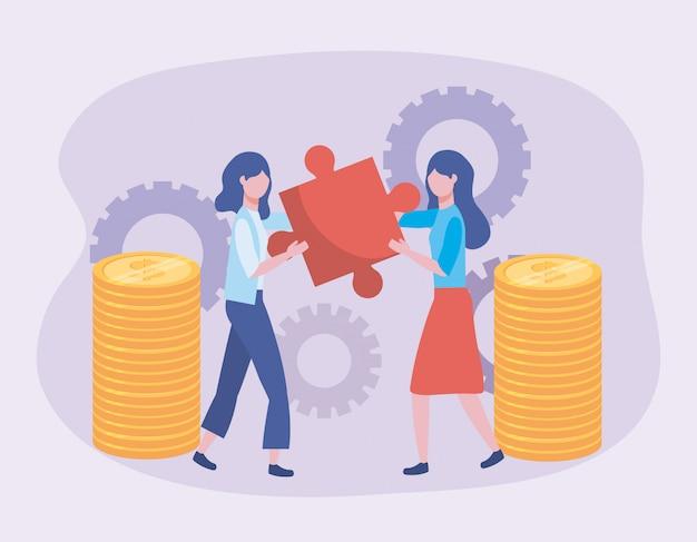 Femmes d'affaires avec puzzle et pièces de monnaie avec technologie à engrenages Vecteur gratuit