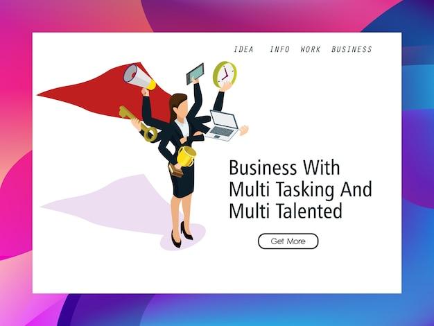 Femmes d'affaires super permanent avec multitâche Vecteur Premium