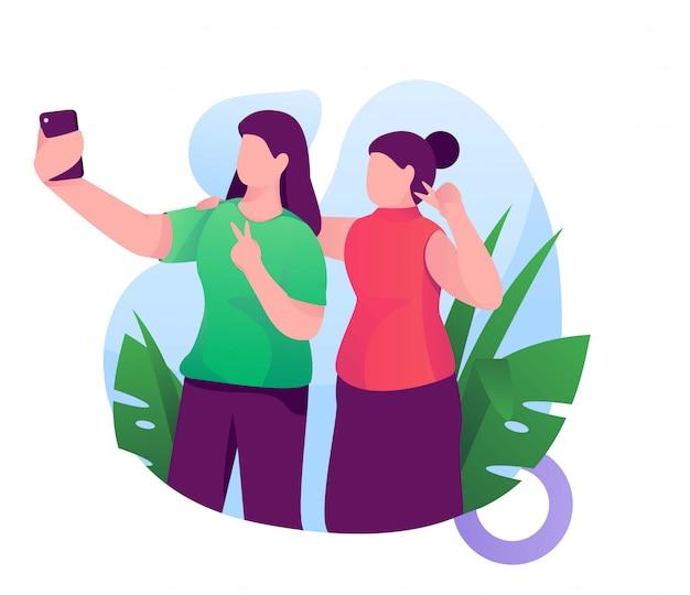 Femmes et amis obtiennent selfie illustration plate Vecteur Premium