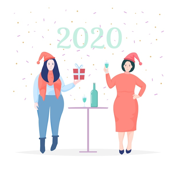 Femmes célébrant la carte de voeux du nouvel an 2020 Vecteur Premium