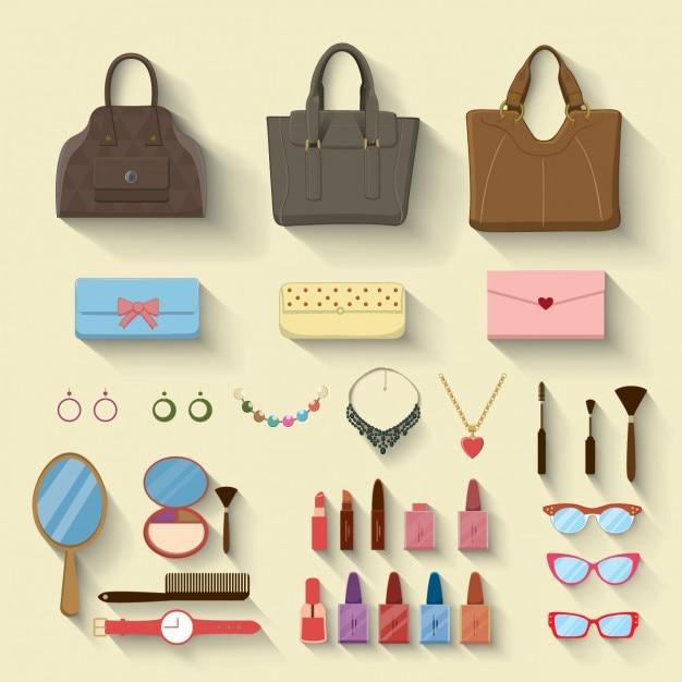 Les femmes des compléments de mode Vecteur gratuit