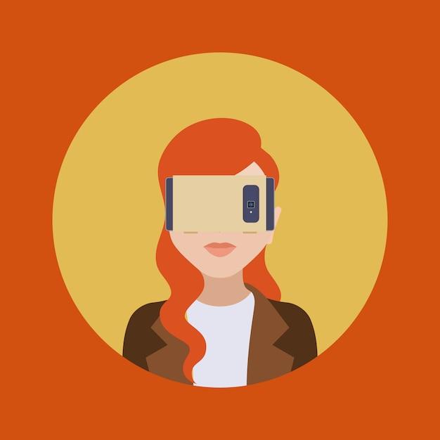 Les Femmes Dans Le Casque De Réalité Virtuelle Vecteur Premium