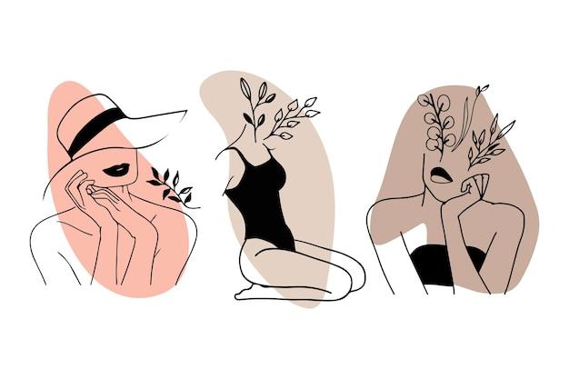 Femmes Dans Une Collection De Style Art Ligne élégante Vecteur Premium