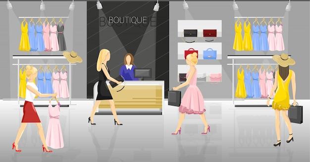 Les femmes dans un magasin de fantaisie. personnes essayant des vêtements et des accessoires Vecteur Premium