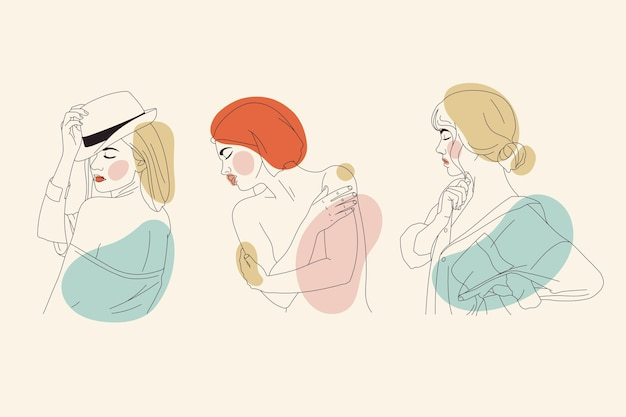Femmes Dans Un Style D'art En Ligne élégant Vecteur gratuit