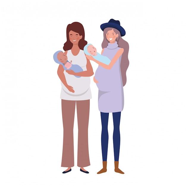 Femmes debout avec un nouveau-né dans ses bras Vecteur Premium