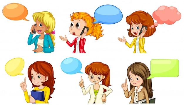 Femmes discutant avec un espace vide Vecteur gratuit
